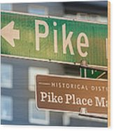 Pike Place Market Sign Wood Print