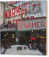 Pike Place Publice Market Neon Sign And Limo Wood Print