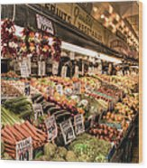Pike Place Veggies Wood Print