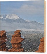 Pikes Peak In The Clouds Wood Print
