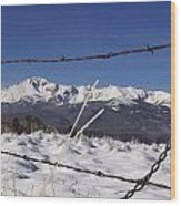 Pikes Peak Through The Fence Wood Print