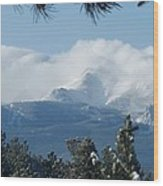 Pikes Peak Under The Clouds Wood Print