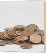 Pile Of American Pennies On White Background Wood Print