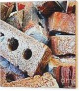 Pile Of Bricks Wood Print