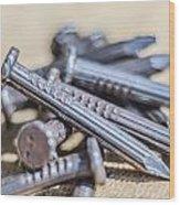 Pile Of Nails Macro Wood Print