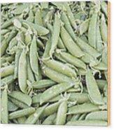 Pile Of Sugar Peas Background Wood Print