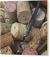 Pile Of Wine Corks With Corkscrew Wood Print