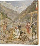 Pilgrims At Gangootree, From India Wood Print