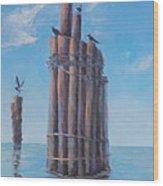 Pilings   Wood Print by Rich Kuhn