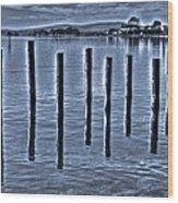 pillars on the Bay Wood Print