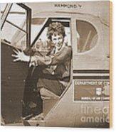 Pilot Amelia Earhart 1936 Wood Print