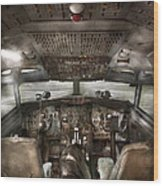 Pilot - Boeing 707  - Cockpit - We Need A Pilot Or Two Wood Print