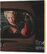 Pin Up Girl In A Classic Rat Rod Car Wood Print
