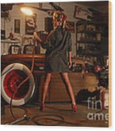 Pin Up Girl With Blow Torch Wood Print
