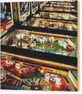 Pinball Arcade Wood Print by Benjamin Yeager