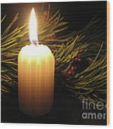 Pine Bough And Candle Wood Print