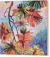 Pine Needle Fireworks Wood Print