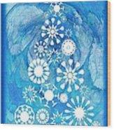 Pine Tree Snowflakes - Baby Blue Wood Print