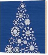 Pine Tree Snowflakes - Dark Blue Wood Print