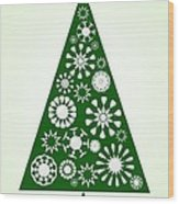 Pine Tree Snowflakes - Green Wood Print