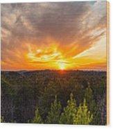 Pine Trees At Sunset Wood Print