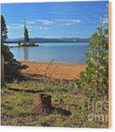 Pine Trees In Lake Almanor Wood Print