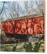 Pine Valley Covered Bridge In Bucks County Pa Wood Print