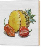 Pineapple And Habanero Peppers  Wood Print