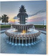Pineapple Fountain At Waterfront Park Wood Print