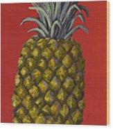 Pineapple On Red Wood Print