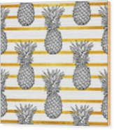 Pineapple Tropical Vector Seamless Wood Print
