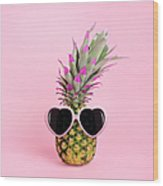 Pineapple Wearing Sunglasses Wood Print