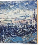 Pines In Winter Blues Abstract Wood Print