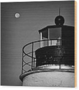 Piney Point Lighthouse And Moon In Black And White Wood Print
