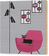 Pink 4 On Gray Wood Print