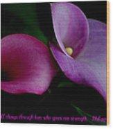 Pink An Purple Calla Lilys Wood Print