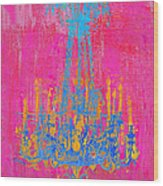 Pink And Blue Chandelier Wood Print