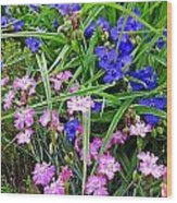 Pink And Blue Garden Wood Print