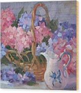 Pink And Blue Hydrangeas Wood Print