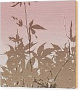 Pink And Brown Haiku Wood Print