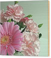 Pink And Green Floral Wood Print