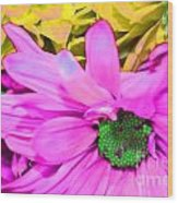 Pink And Green Flowers Wood Print