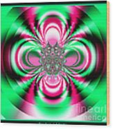 Pink And Green Rotating Flower Fractal 74  Wood Print