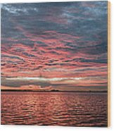 Pink And Grey At Sea - Sunrise Panorama  Wood Print