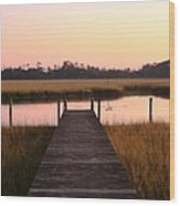 Pink And Orange Morning On The Marsh Wood Print