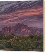 Pink And Purple Desert Skies  Wood Print