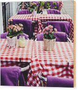 Pink And Purple Dining Wood Print