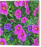 Pink And Purple Petunias Wood Print