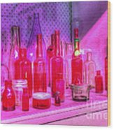 Pink And Red Bottles Wood Print