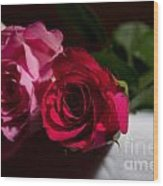 Pink And Red Rose Wood Print